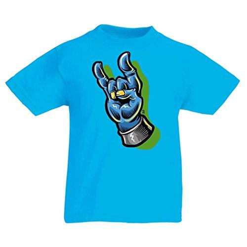 Kinder T-Shirt Zombie Hand EIN Rock and Roll Symbol, Zeichen der Hörner Schwermetall Zeichen (9-11 Years Hellblau Mehrfarben)