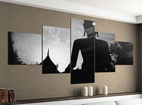 Leinwandbild 5 tlg. 200cmx100cm Buddha Buddhismus Feng Shui Religion schwarz weiß Bilder Druck auf Leinwand Bild Kunstdruck mehrteilig Holz 9YA1266, 5Tlg 200x100cm:5Tlg 200x100cm