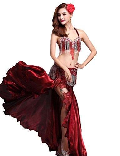 YiJee Damen Belly Dance Tanz Kostüm Split Bauchtanz Set BH Set Tops Rock Rot (Kostüm Sport Bh Tanz Für)