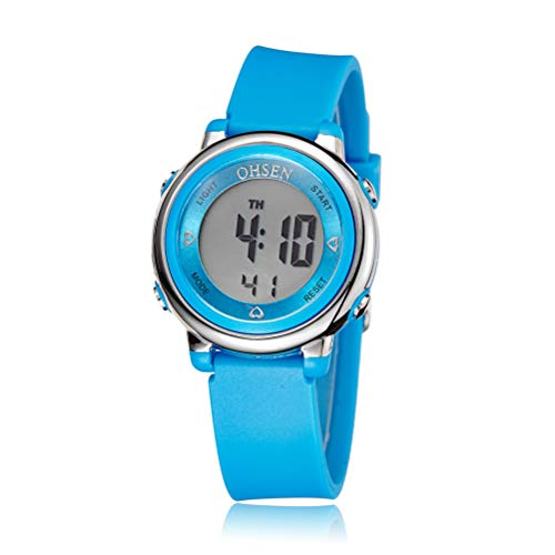 Ohsen Kinder Frauen Mädchen Multifunktions Wasserdichte Hintergrundbeleuchtung Display Quarz Sportuhr mit Stoppuhr/Datum / Alarm (1605 blau)