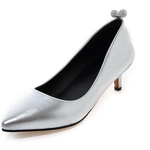 VogueZone009 Damen Ziehen Auf Spitz Zehe Niedriger Absatz Eingelegt Pumps Schuhe Silber