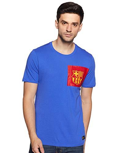Nike Men's Solid Regular fit T-Shirt (832658-480_Game Royal/Gym Red_XL)