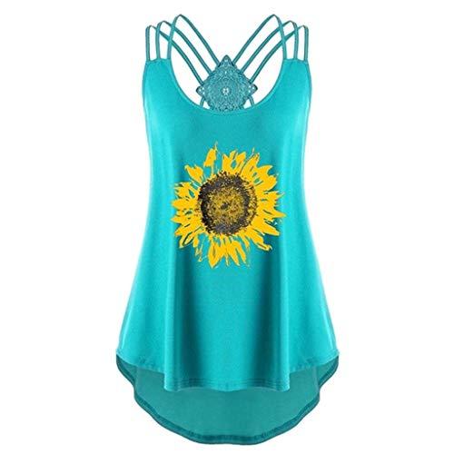 ng Sunflower Print Ärmelloses, lässiges Crossover-Tanktop Spaghetti-Top Bequem und selbstkultivierend Leibchen Oben(Grün,XXL) ()