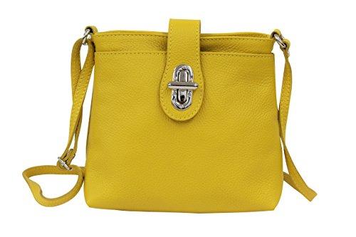 AMBRA Moda - Bolso cruzados de Piel para mujer M, color amarillo, talla M