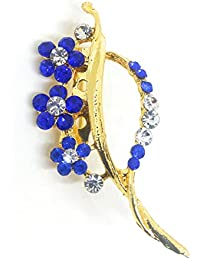 Saree Pin Brooch For Women, Girls & Men, Gold Tone, Blue Color Stone Stud