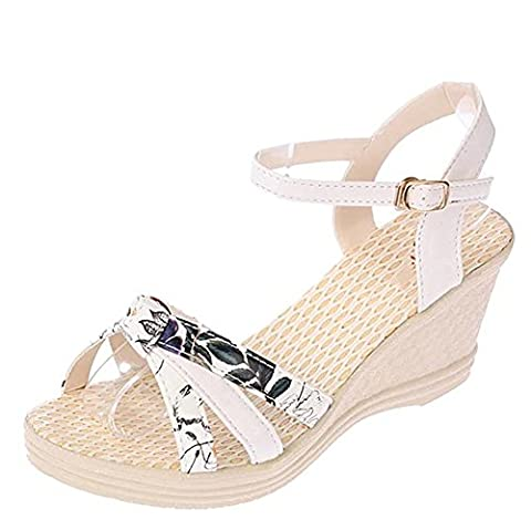 Minetom Summer Women Fashion Slope Flip Flops Clip Toe Sandals Loafers Wedges Shoes with Buckle Strap White UK 4