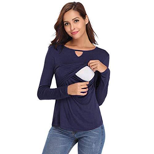 JYJM 2019 Frauen Mutterschaft Pflege Shirt Langarm Stillen Bluse Elegant Langarm Casual Solid Unregelmäßiger Saum Sweatshirt Pullover Top Bluse mit Knopf Damen Langarm-Top, V-Neck ()