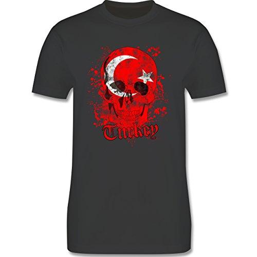EM 2016 - Frankreich - Turkey Schädel Vintage - Herren Premium T-Shirt Dunkelgrau