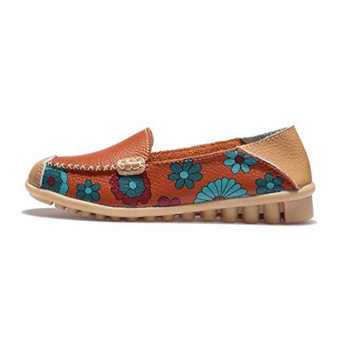 Z.SUO Mocassins Femmes En Cuir Casuel Confort Chaussures Plates Loafers Chaussures de Conduite Orange.1