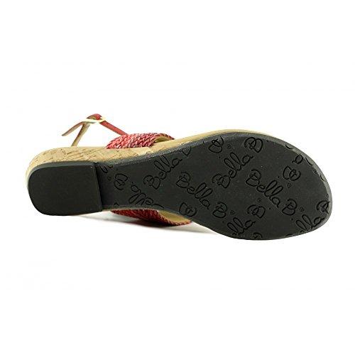 Soldes - Brave - Sandales Rouge Confortable Nu-pied à entre-doigt - Bella B C-Rouge