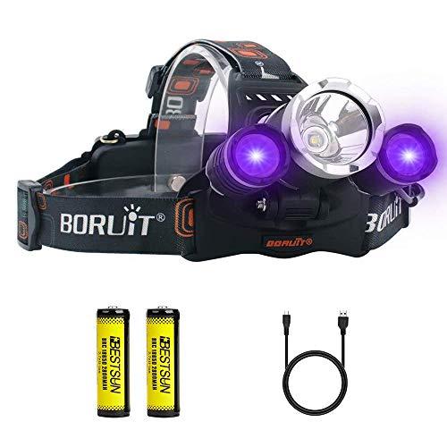 UV Stirnlampe, Ultraviolettes Licht Stirnlampen, Schwarzlicht Scheinwerfer mit 395-400nm für Kunst, Nachtangeln, Rockhounds, Skorpione, Auto Oil HVAC-Lecks, Haustierurinflecken, Schmuck