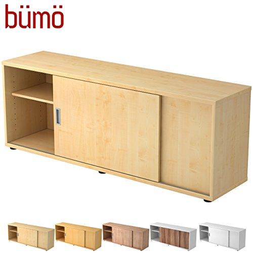 BÜMÖ® Sideboard mit Schiebetür | Büro Schiebetürenschrank | Für Aktenordner & Stauraum für Material | Büromöbel | in 12 Farben (Ahorn) -