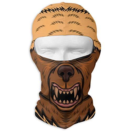 Wfispiy Angry Bear Hat Multifunktionsvollgesichtsmaske für Sun Wind Dust Bandana atmungsaktiv (Hat Herren Tams)
