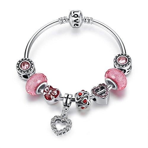 Wostu Charm Bracciali con perline di vetro Lampwork rotondo e chiusura colorato rosa Charm per ragazze