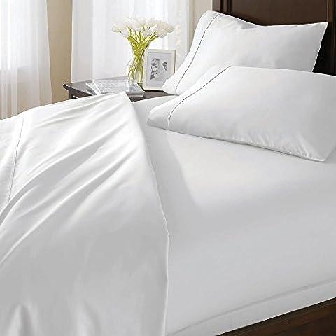 900hilos 4piezas Juego de sábanas 100% algodón egipcio Premium calidad (blanco sólido, tamaño Euro doble IKEA, Pocket Size 42cm)