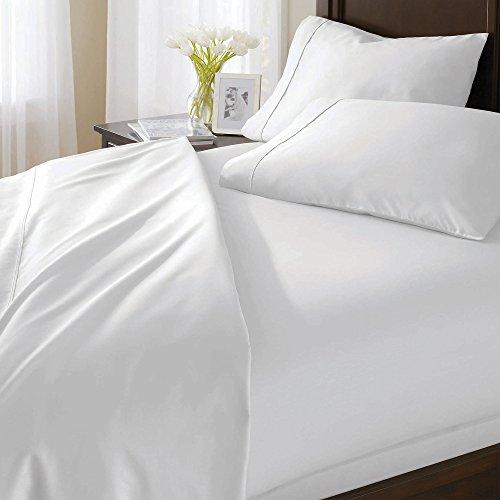 1000hilos 3piezas Juego de funda nórdica sólido (blanco, Euro rey IKEA tamaño) 100% algodón egipcio Premium