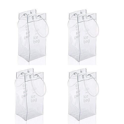 Sohapy 4 Stück tragbare faltbare transparente Eisweintasche Kühltasche mit Griff für Party, Outdoor, Champagner, Kaltes Bier, Weißwein, gekühlte Getränke