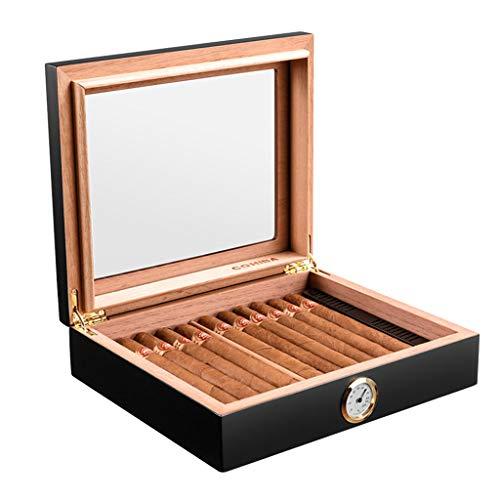 Zigarren-Zubehör 35 Zigarrenschachteln Tragbarer Zigarren-Humidor Kubanische Zigarren Zedernholz-Luftbefeuchter Oberlicht Mit Luftbefeuchter Und Hygrometer Ausgestattet