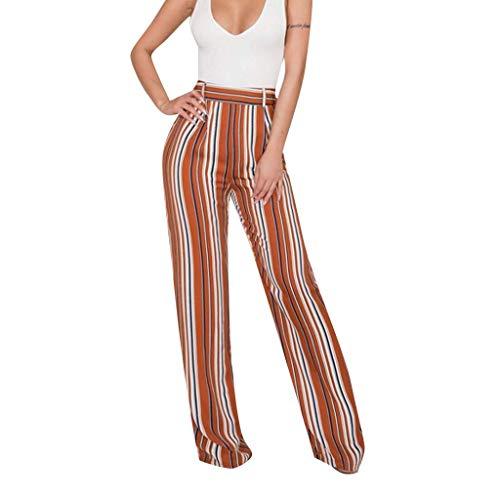 WOZOW Damen Weites Bein Hosen Colorful Vertical Streifen Gestreift Stripe Lose Loose High Waist Trousers Casual Mode Arbeitskleidung Extra Lang Long Trousers (2XL,Braun)
