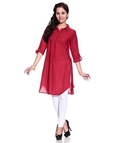 Muta Fashions Red Kurti For Fancy Women\'s Kurtas for Girls Fabric (Fabric Of 2 mtrs)(FABRIC03_Red)