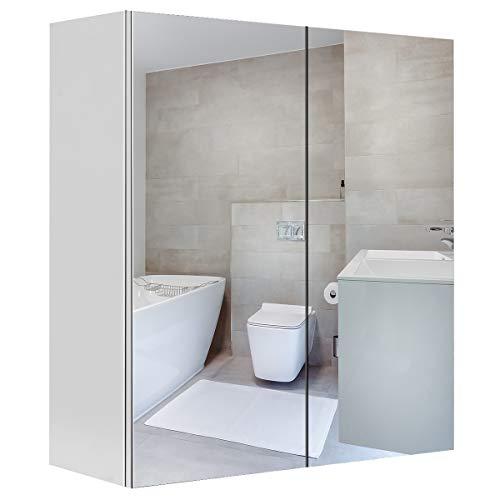 COSTWAY Spiegelschrank Badezimmerschrank Badeschrank Wandschrank Hängeschrank Front Spiegel Badmöbel 60x22x64cm, 2 türig