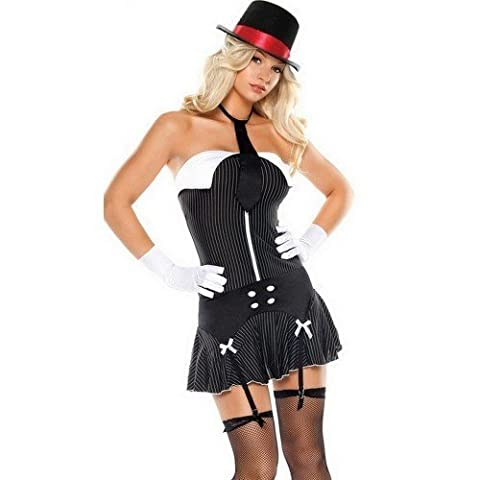 Ladies Sexy 5 Piece Gangster Moll 1920s Party Fancy Dress Costume Outfit