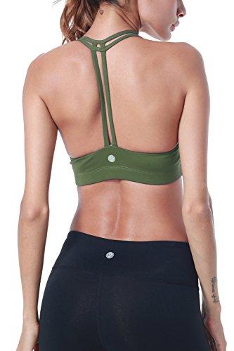 Queenie KE Frauen Licht-Unterstützung Cross Back Wirefree Pad Yoga Sport-BH Gr. Small, armee-grün (Bra Secret Pink Victorias)