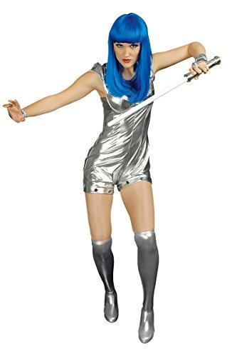 Space Girl Kostüm Sexy - Damen Kostüm sexy Spacegirl in Silber Karneval Fasching Gr.36/38