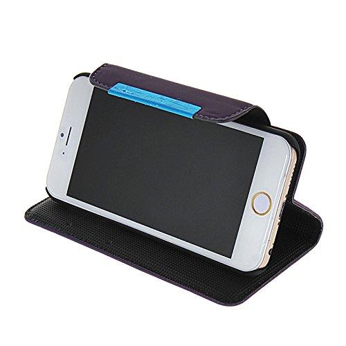 MOONCASE Coque en Cuir Portefeuille Housse de Protection Étui à rabat Case pour Apple iPhone 6 Rose Voilet 04
