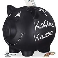 Preisvergleich für Relaxdays Sparschwein, zum Beschriften, Keramik, Kreide, Hochzeit, Geburtstag, Taufe, Spardose, 14 x 17 x 13 cm, schwarz