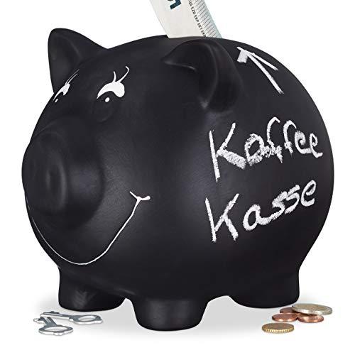 Relaxdays Sparschwein, zum Beschriften, Keramik, Kreide, Hochzeit, Geburtstag, Taufe, Spardose, 14 x 17 x 13 cm, schwarz