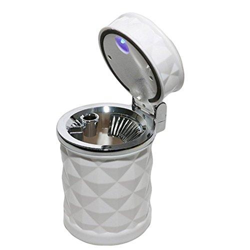cher mit Deckel Umweltfreundlicher Standaschenbecher Zylinder Cup Holder Zigarette Aschenbecher mit blauer LED-Licht,Diamant-Aussehen(Weiss) ()