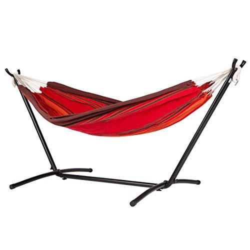 Ultranatura - Hamaca doble con soporte de metal, con barra para 2 personas, silla colgante con bolsa de transporte, fácil...