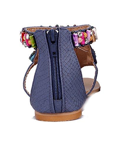 Damen Bohemia Wulstige Offene Sandalen Flach Thong Zehentrenner Sandalen T-Spange Pantoletten Blau