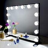 BEAUTME Miroir de Maquillage Hollywood avec lumières LED, Grand Miroir de Maquillage à Commande Tactile avec Ampoules de gradateur LED, Miroir de table ou mural(noir)