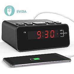Radio Réveil, Horloge Digitale de Chevet Numérique FM avec Port de Chargeur USB pour Chambre à Coucher ou Salon