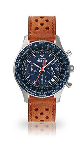 DETOMASO FIRENZE Uomo Orologio Cronografo analogico al quarzo marrone chiaro Cinturino in pelle da corsa quadrante blu SL1624C-BL-838