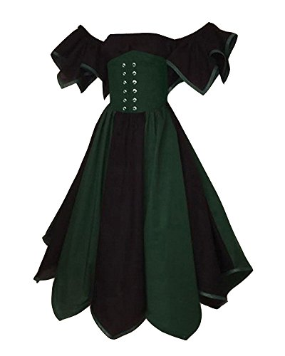 Damen Renaissance Mittelalter Kostüm Viktorianisches Kleid Retro Partykleid Dunkelblau S (Frauen Billige Halloween-kostüme Für)