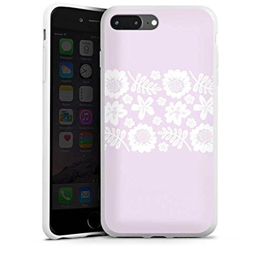 Apple iPhone 8 Silikon Hülle Case Schutzhülle Rosa Spitzenborte Oktoberfest Muster Silikon Case weiß