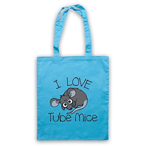 I Love Mouse-Borsa a tubo, motivo: aforismi [lingua inglese] Azzurro