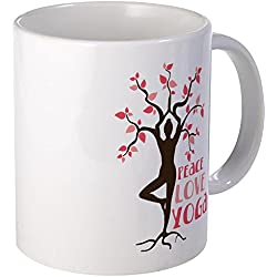 CafePress - PEACE LOVE YOGA Mugs - Coffee Mug, Novelty Coffee Cup by CafePress