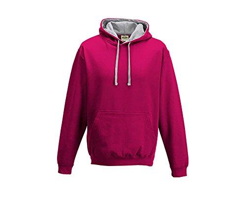 Varsity sweat-shirt à capuche à capuche pull-over à capuche unisexe coloré - Hot Pink Heather Grey