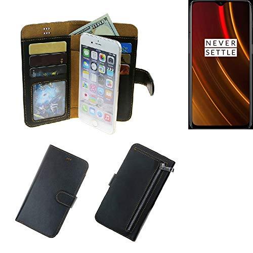 K-S-Trade Für OnePlus 6T McLaren Edition Portemonnaie Schutz Hülle schwarz aus Kunstleder Walletcase Smartphone Tasche für OnePlus 6T McLaren Edition - vollwertige Geldbörse mit Handyschutz