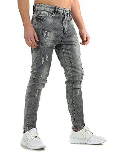 VSCT Herren Destroyed Jeans CARTER FIVE Slim Fit Schnitt mit Effekten Grau