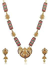 Shining Diva Fashion Latest Lakshmi Design Necklace Set for Women Traditional Gold Plated Jewellery Set for Women (Golden) (10380s)