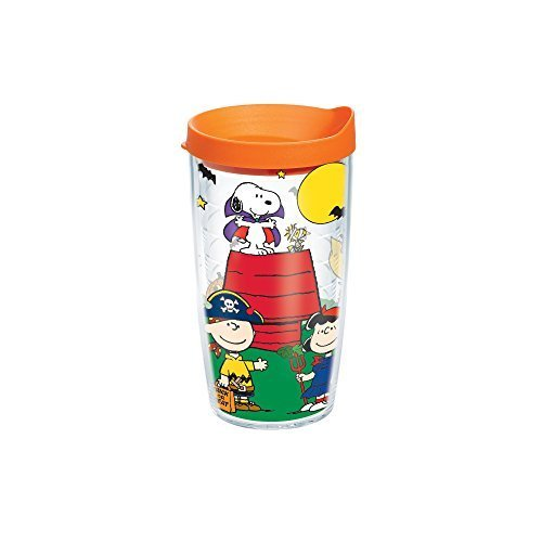 Tervis Peanuts Halloween Individual Wrap Tumbler with Orange Lid, 16 oz, Clear by Tervis