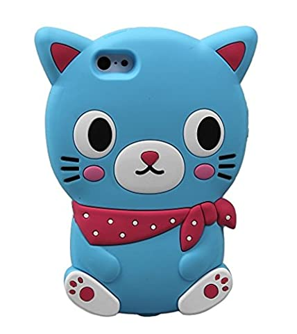 Cat Case Cover For iPhone 5 5S 5c Cartoon Animal Design 3D Shape Silicone Rubber Gel New (Blue) © Sloth