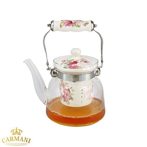 CARMANI - Théiere en verre avec manche en métal et roses roses vintage Systeme d'infusion amovible en céramique pour feuille de thé en vrac 900ml
