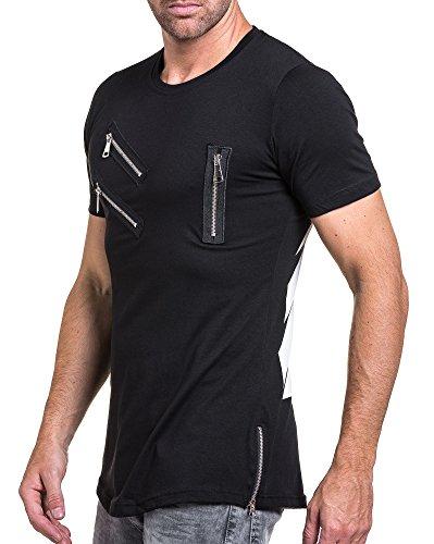 BLZ jeans - T-Shirt mit schwarzem Mann und Reißverschluss Fantasie gedruckt Schwarz
