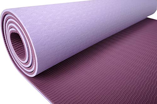 Antideslizante Yoga TPE–de Alta Calidad Estera de Gimnasia (Sport Esterilla para Yoga, Pilates y Fitness 183x 61x 0,6cm–En Ver. Colores Disponible–Inc. Yoga Workout, Lila/Bordeaux